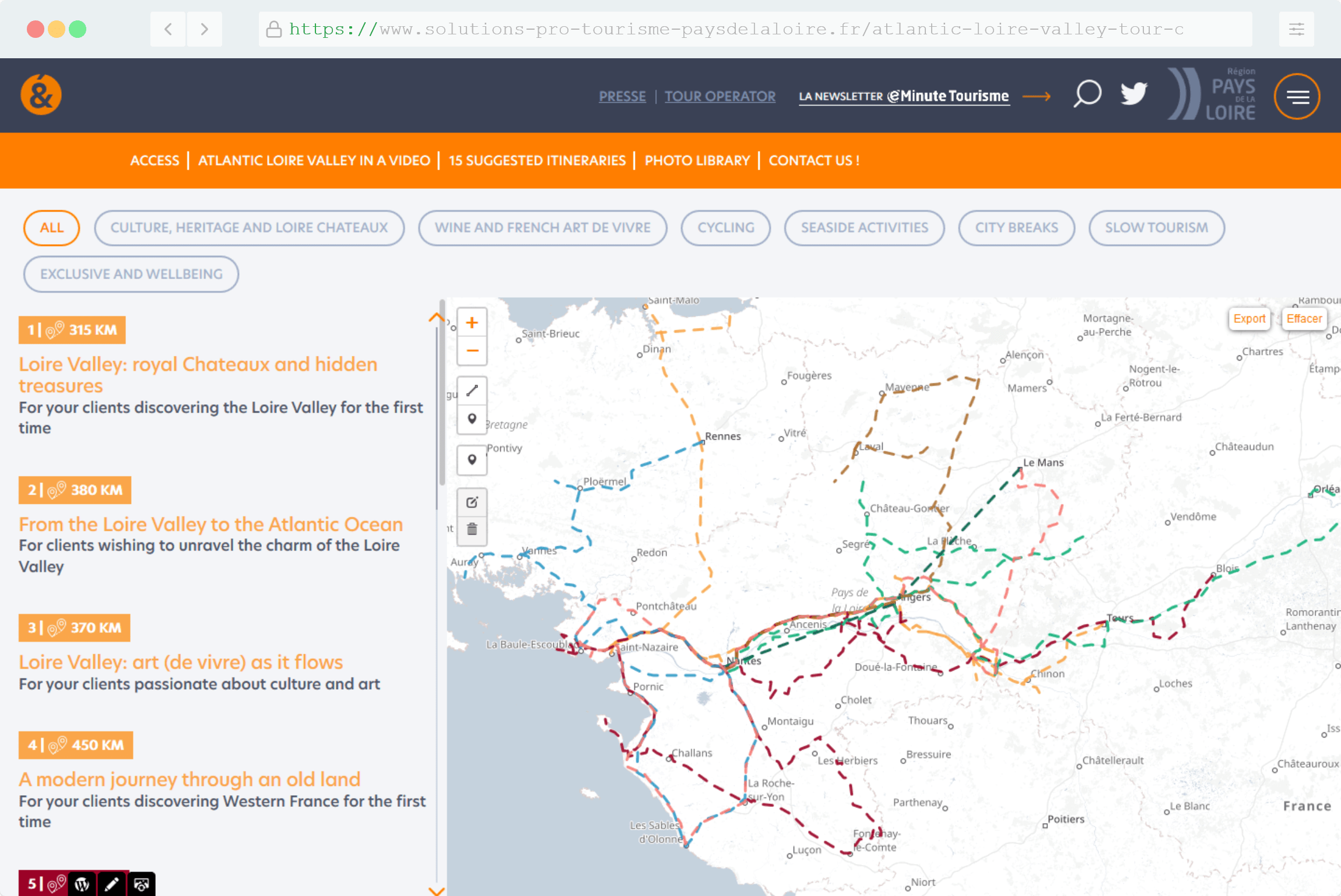 Exemple de réalisation de cartographie pour le site internet Solution Pro Tourisme